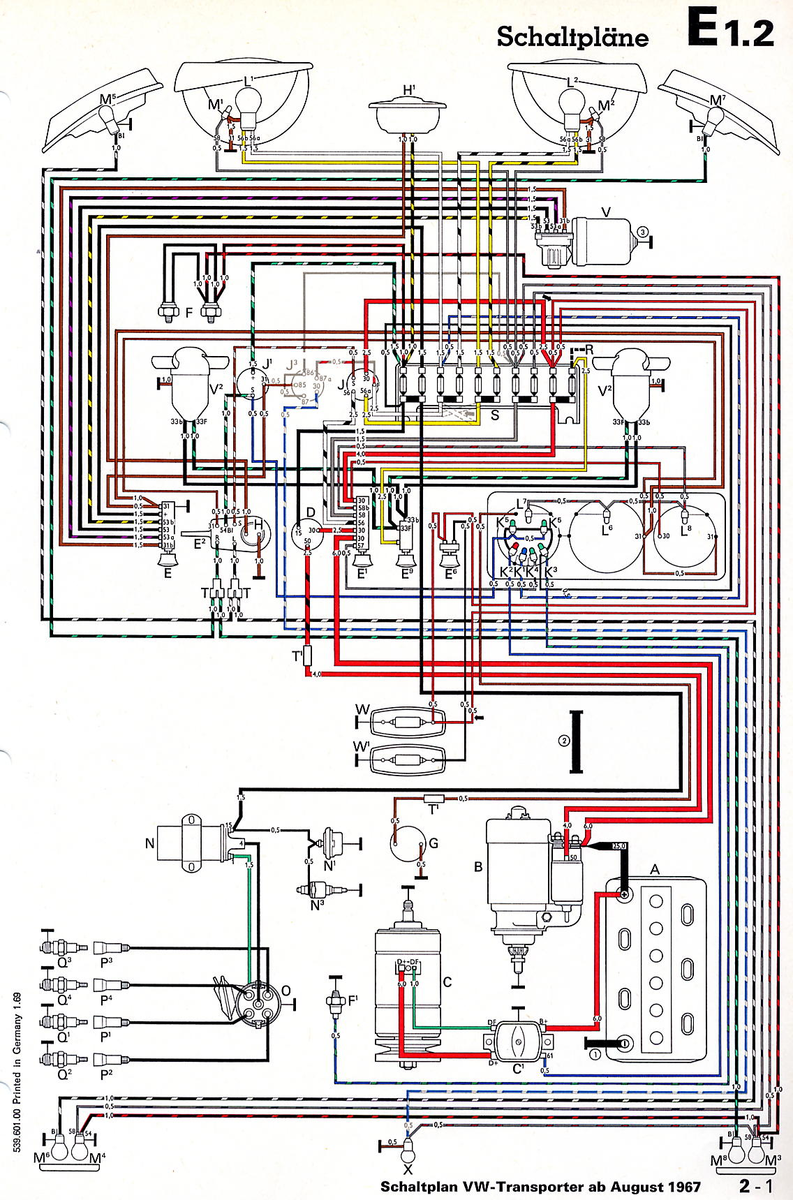 wiring diagram 68 vw bus thesamba com bay window bus view topic 69 electrical hacks 10 fuse box is correct for