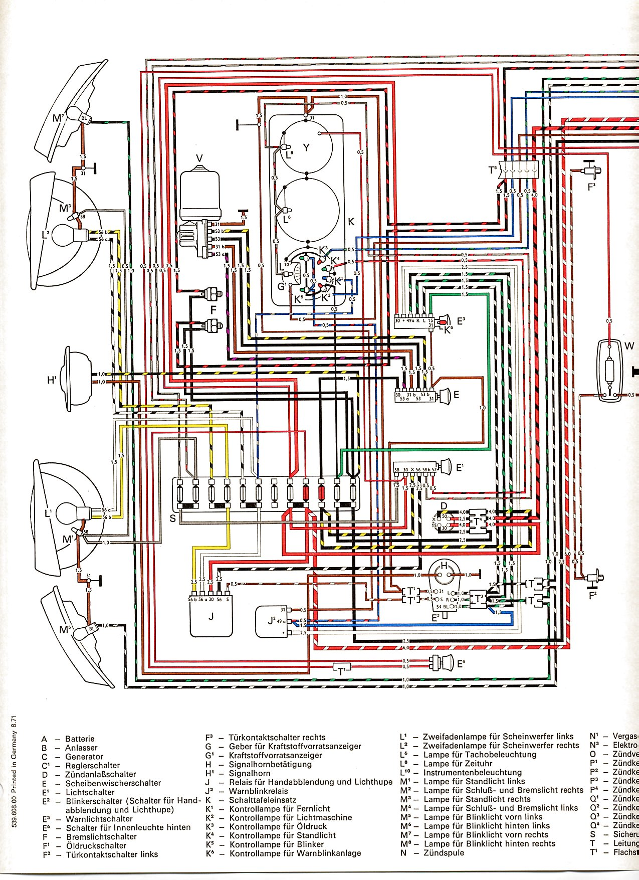 volkswagen type 2 wiring harness schematic diagram