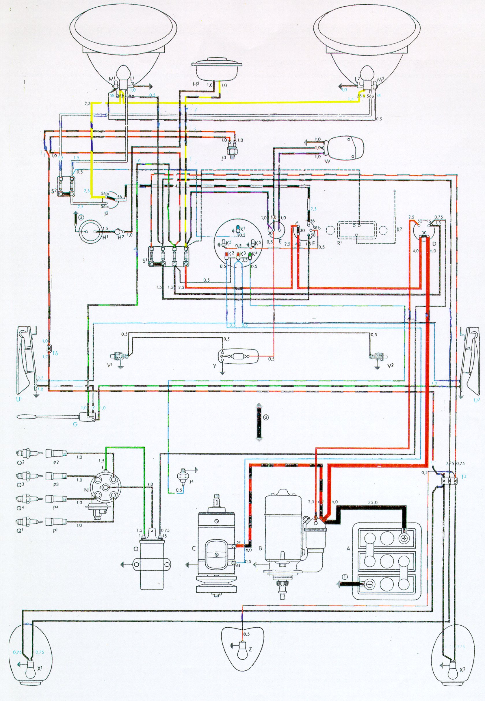 Vw Bus And Other Wiring Diagrams 79 Corvette Ac Diagram Bug