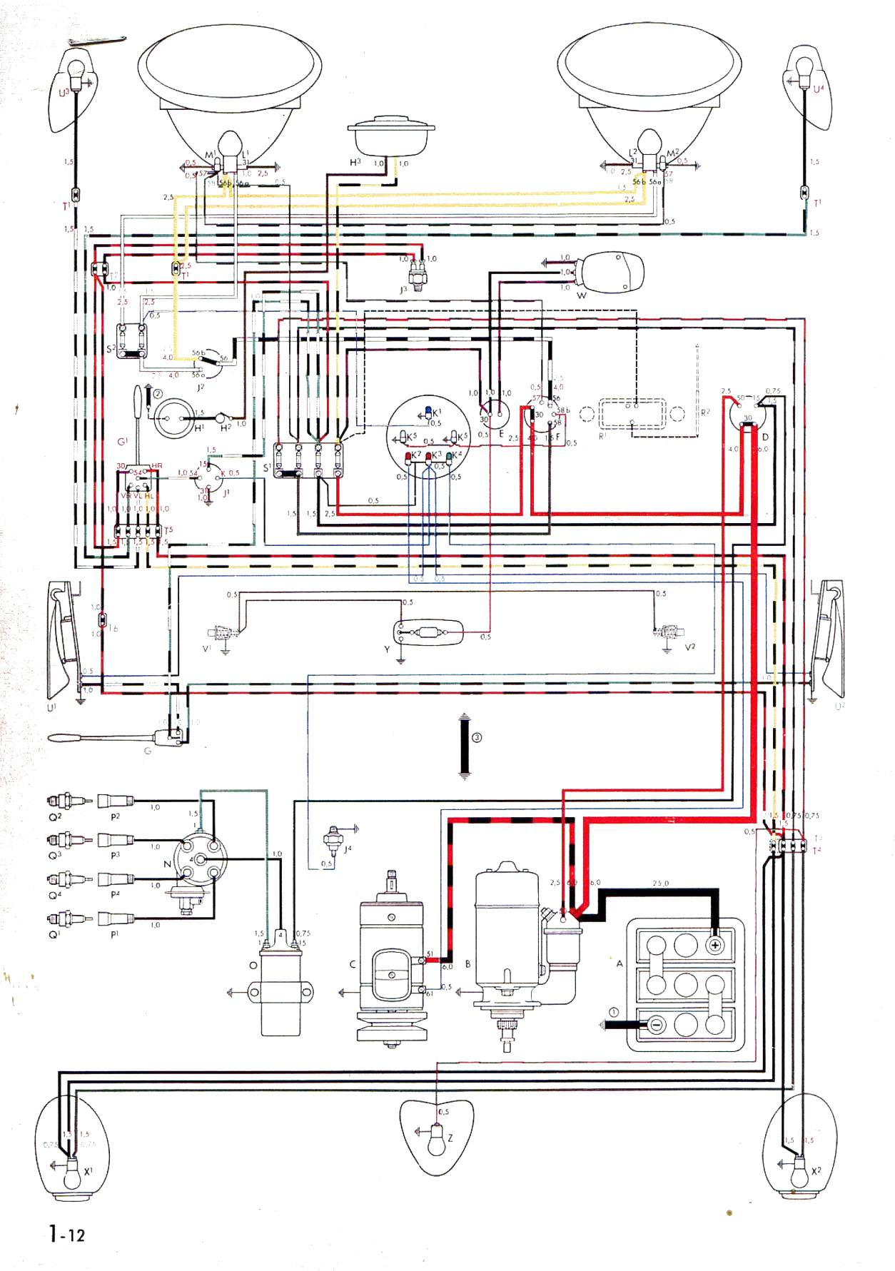 bug 55 57 vintagebus com vw bus (and other) wiring diagrams vw beetle wiring harness routing at aneh.co