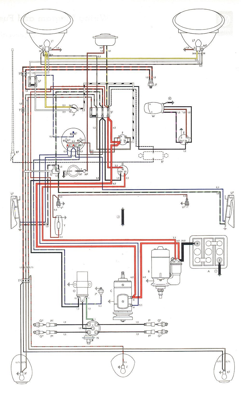 bug 58+59 euro vw beetle starter wiring diagram ignition wire diagram for 1974 vw vw bug wiring harness installation at crackthecode.co