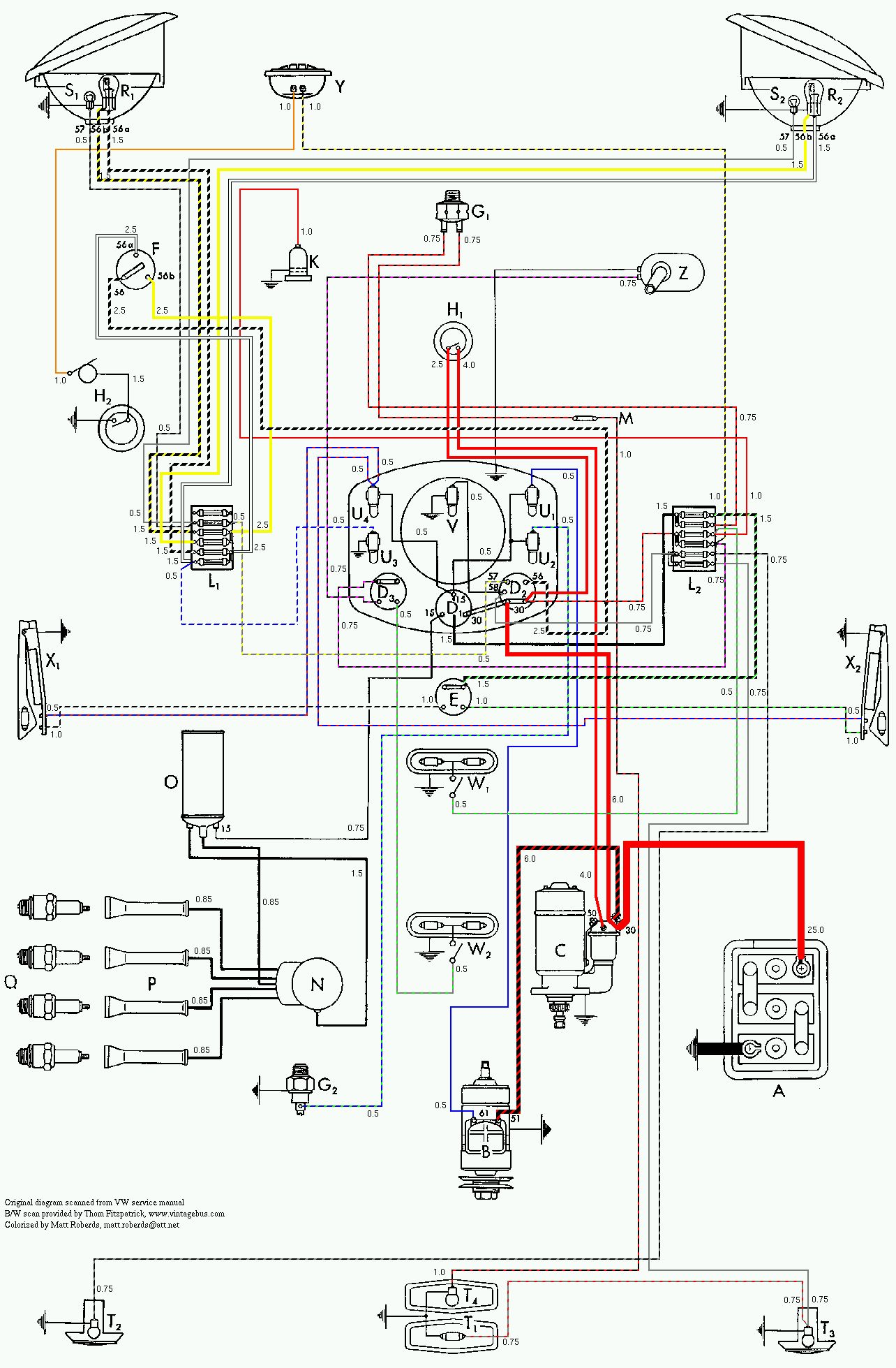 bus 53 color vintagebus com vw bus (and other) wiring diagrams Volkswagen Type 2 Wiring Harness at gsmx.co