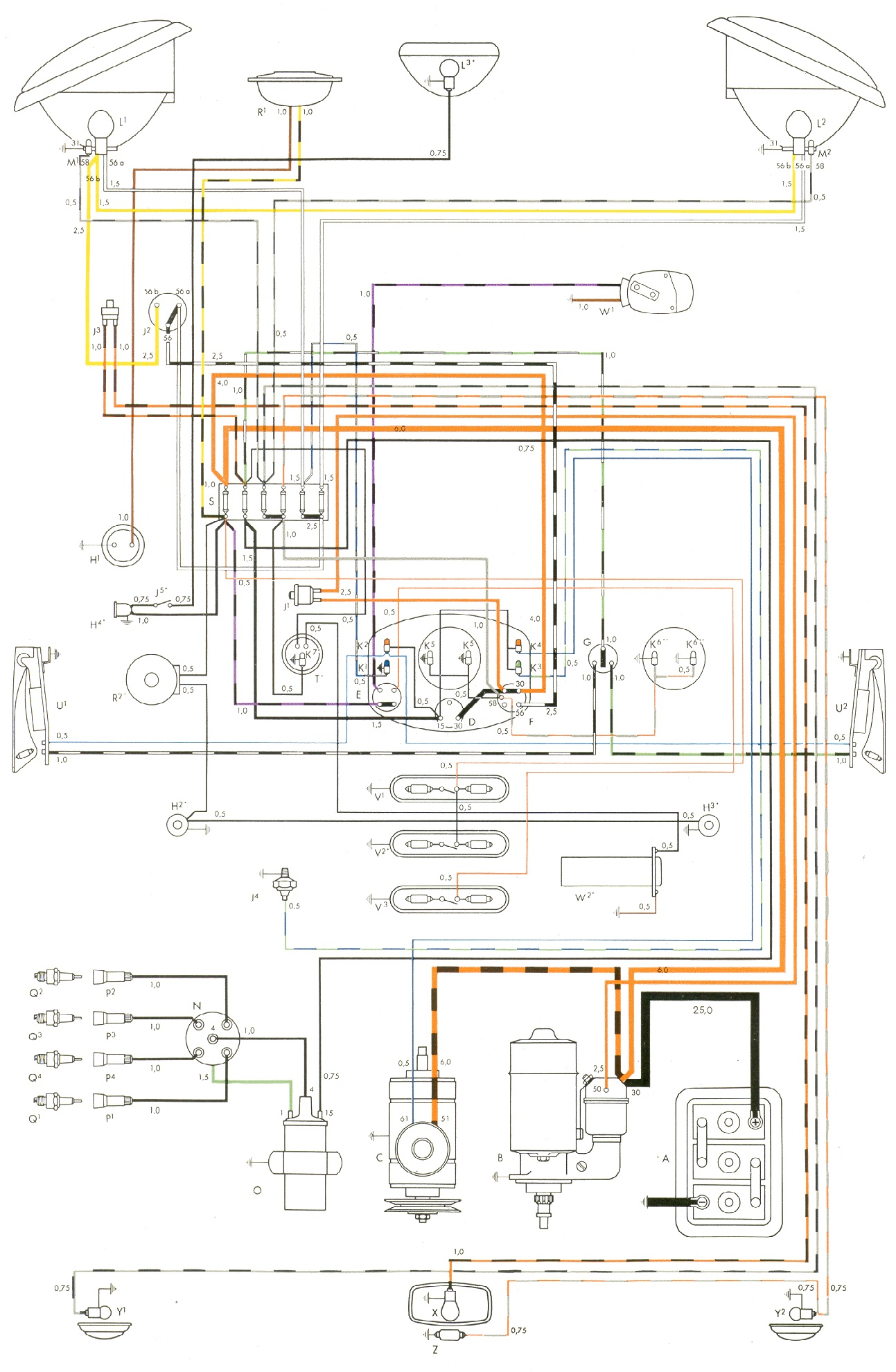 2000 Vw Wiring Diagram Computer Great Installation Of Beetle Engine The 2005 Volkswagen Vintagebus Com Bus And Other Diagrams Rh 70 1973