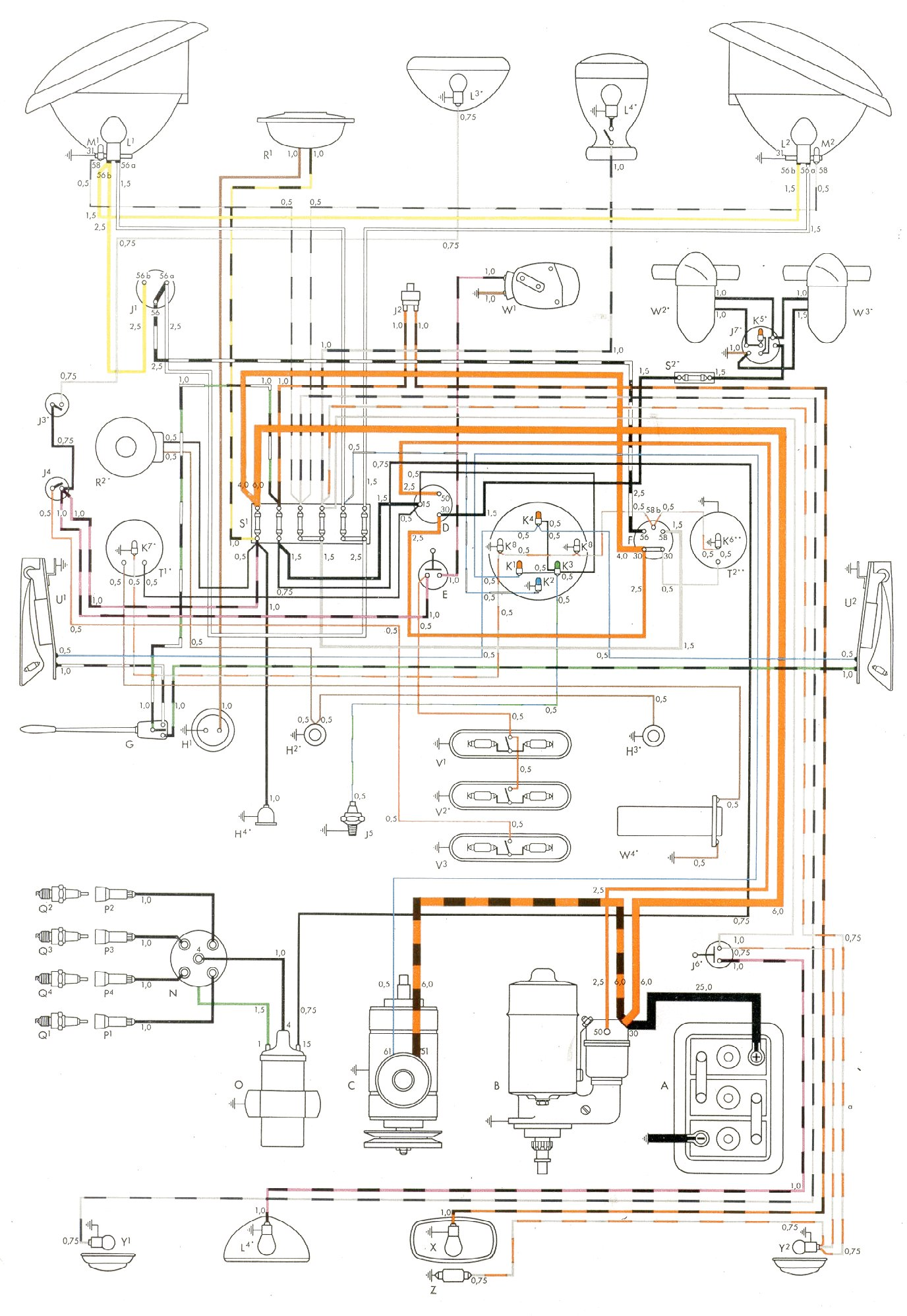 Vw Bus And Other Wiring Diagrams Euro Trailer Diagram Y