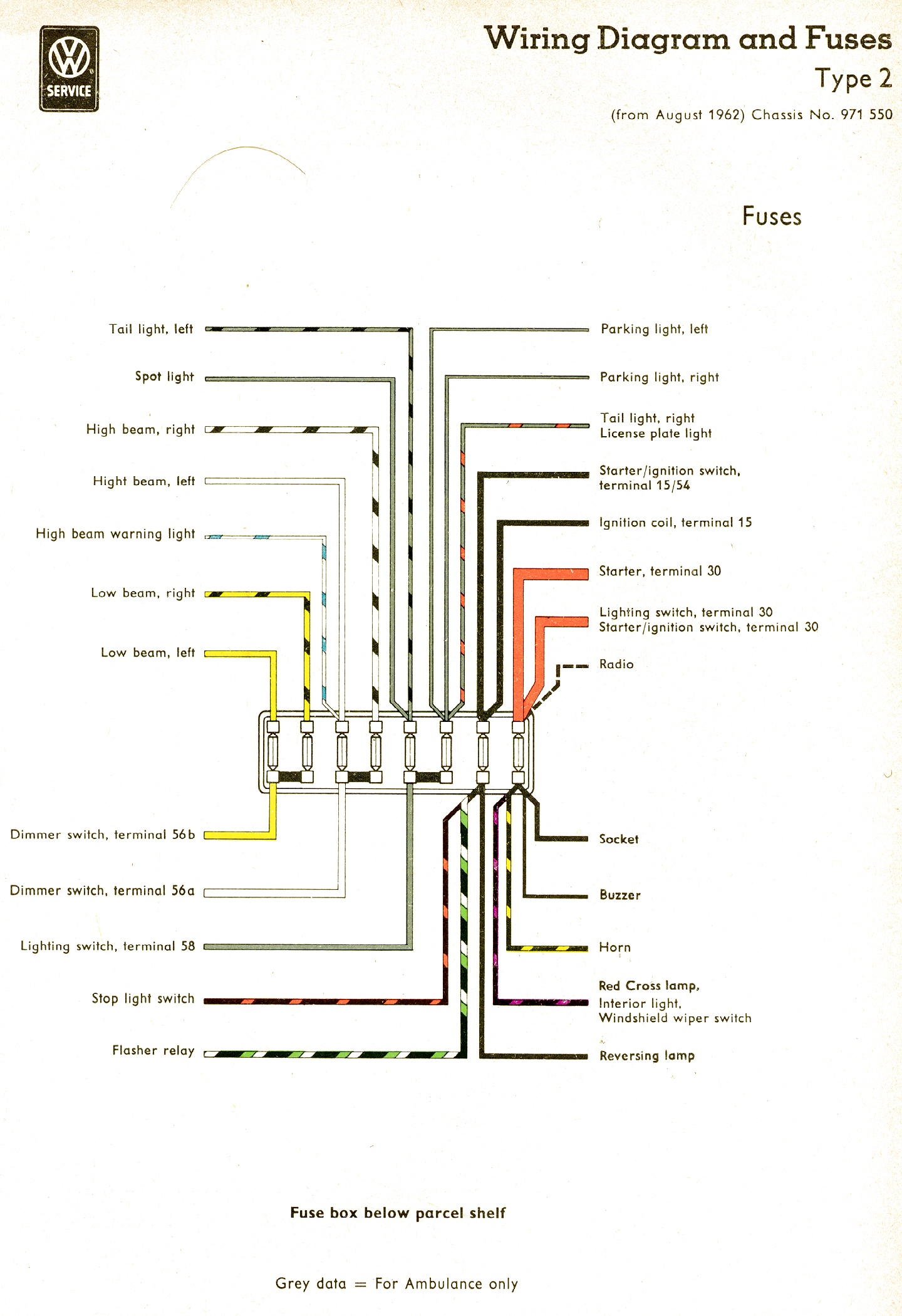 bus 62 fuse vintagebus com vw bus (and other) wiring diagrams 1971 vw bus wiring diagram at nearapp.co