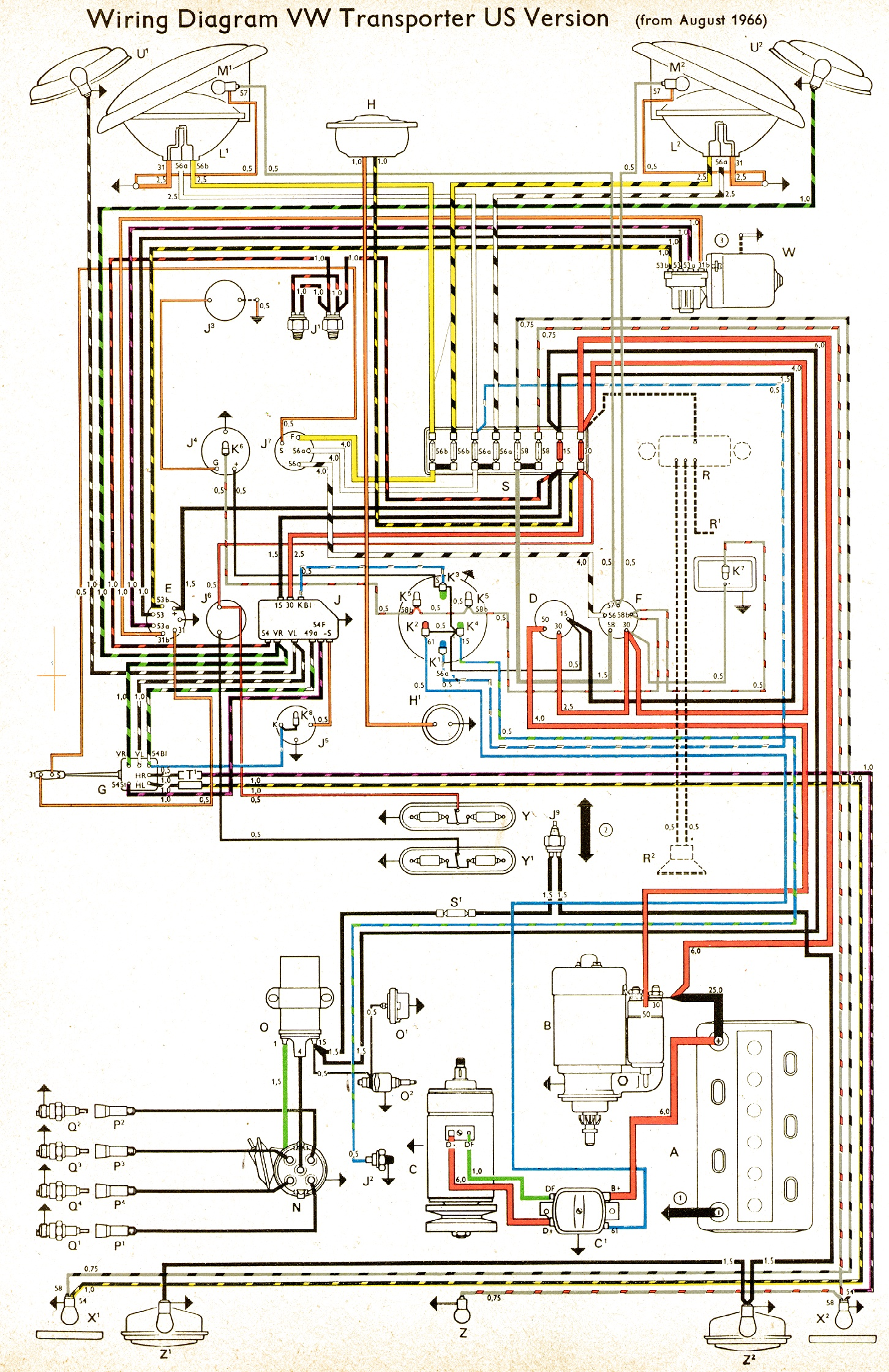 bus 66 usa vintagebus com vw bus (and other) wiring diagrams 1965 vw beetle wiring diagram at nearapp.co
