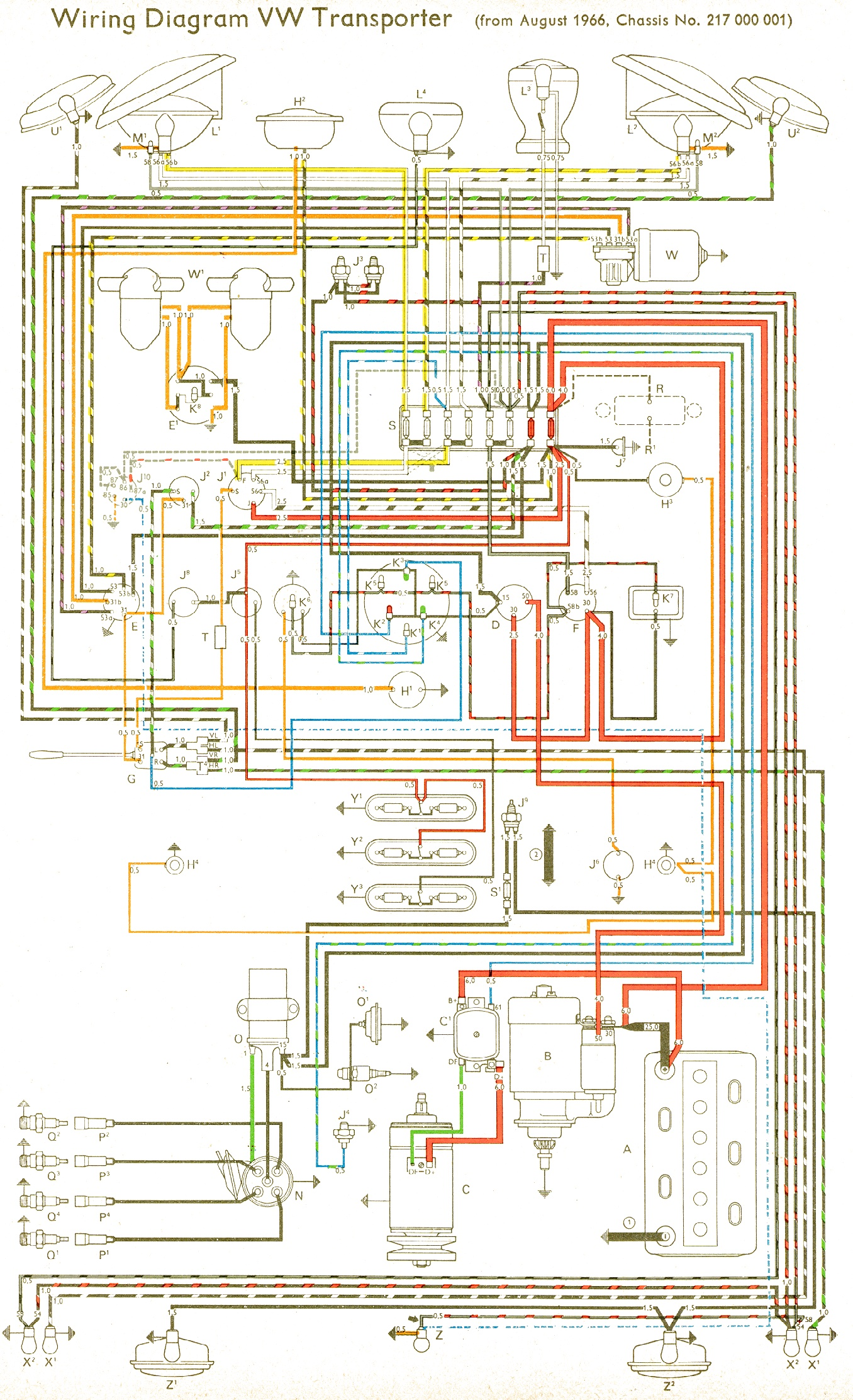 Vw Bus And Other Wiring Diagrams Panel From Chevy Tail Light Diagram Lights Fuse To 1975 Com